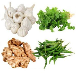 Coriander Leaves 100 g + Garlic 250 g + Ginger 250 g + Chilli  250